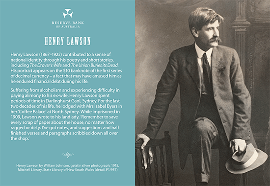 Front side of Henry Lawson postcard