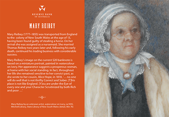 Front side of Mary Reibey postcard