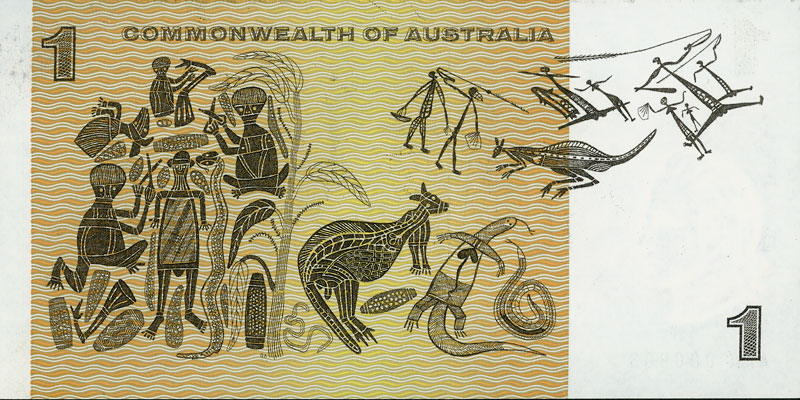 Back of the $1 banknote, showing designs based on a bark painting by David Malangi Daymirringu and Aboriginal rock carvings, with watermark of Captain James Cook.