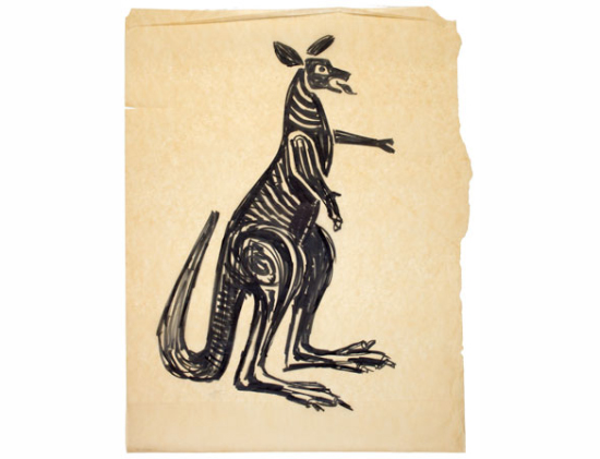 Kangaroo sketch by Gordon Andrews for the $1 banknote. Reproduced by permission of the estate of Gordon Andrews and the Museum of Applied Arts and Sciences.