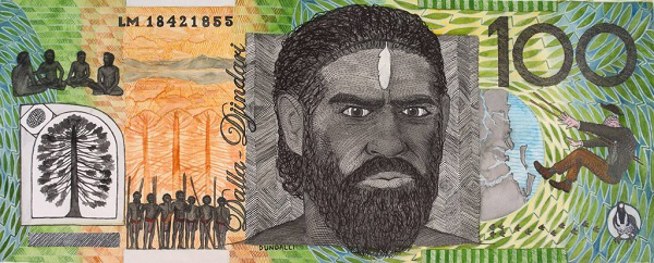$100 'Blood Money' banknote, 2018 by Ryan Presley featuring Dundalli (c.1820-1855). Artwork reproduced with permission of the artist.