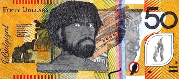 $50 'Blood Money' banknote, 2018 by Ryan Presley featuring Pemulwuy (1750-1802). Artwork reproduced with permission of the artist.