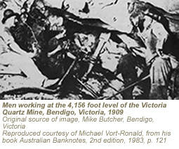 Photograph showing men working at the 4,156 foot level of the Victoria Quartz Mine, Bendigo, Victoria