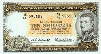 Image showing the front of a ten shilling note