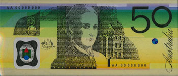 Image showing a portrait of Edith Cowan on the back of an early design of the $50 banknote