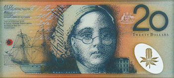 Image showing a portrait of Mary Reiby on the front of an early design of the $20 banknote designed by Garry Emery