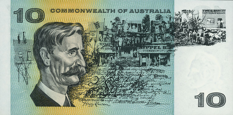 Back of the $10 banknote, showing Henry Lawson, with watermark of Captain James Cook