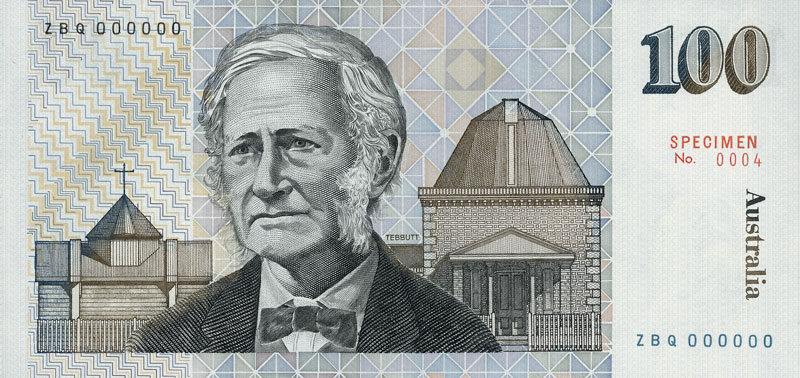 Back of the $100 banknote, showing John Tebbutt, with watermark of Captain James Cook