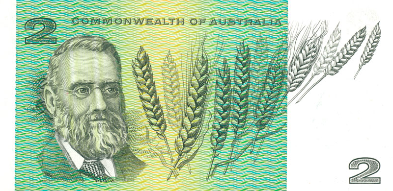 Back of the $2 banknote, showing William Farrer.