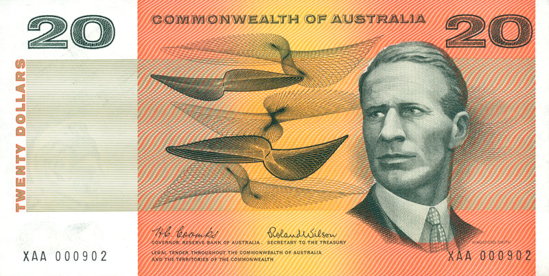 Front of the $20 banknote (first series), showing Sir Charles Kingsford Smith