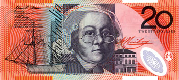 Image showing the front of the $20 polymer note featuring the portrait of Mary Reibey