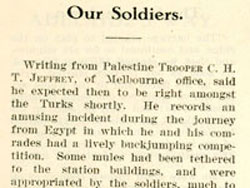 'Our Soldiers' – an article that appeared in the Commonwealth Bank's staff magazine Bank Notes