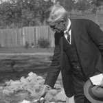 Denison Miller, Governor of the Commonwealth Bank, laying the foundation of the very first war service home in Australia at Kennedy Avenue, Canterbury (present-day Belmore), Sydney, for TG Baxter, 21 July 1919. PN-002063
