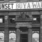 Advertisements for the Sixth War Loan displayed prominently on the Commonwealth Bank of Australia's façade, Moore Street (now Martin Place), Sydney, April 1918. PN-001623