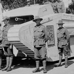 Model tank and military escort, Perth, Western Australia. PN-001767