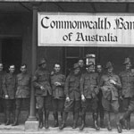 Commonwealth Bank of Australia Military Branch at Tidworth, England, 30 June 1919. Australian troops were stationed chiefly on Salisbury Plain, and so a branch of the Bank was opened at Tidworth Barracks in June 1916 to facilitate their banking needs. Additional branches were opened in Warminster, Weymouth and Hurdcott. PN-000504