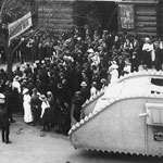 Appeal for Tank Week, outside the recruiting depot, Melbourne Town Hall, Swanston Street, Melbourne, April 1918. Alderman William Whyte Cabena, Lord Mayor of Melbourne, made an appeal for subscriptions. PN-001764