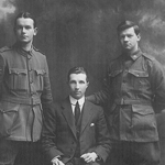 Sergeant RKF Cowan, Technical Sergeant CC Bischof, and Acting Manager, AG Adams, Commonwealth Bank of Australia Tidworth Military Branch, England, May 1918. PN-001430