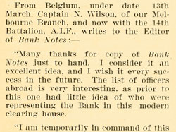 Snippet from a Banknotes article about Norman Wilson