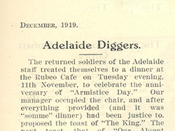 'Bank Notes Article Adelaide Diggers'